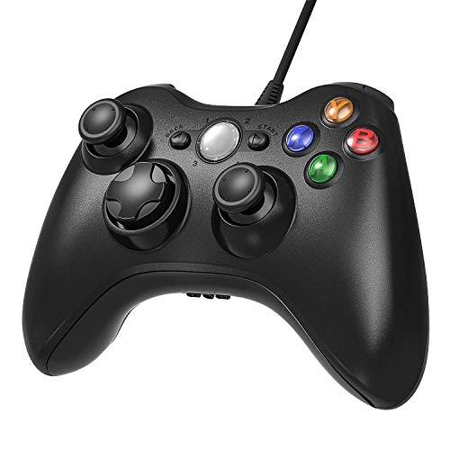 AiMis-Manette-filaire-Xbox-360-USB-Gamepad-Controller-Manette-du-Contrleur-de-Jeu-Filaire-avec-Double-Vibration-pour-Windows7-8-10-PC-Xbox-360Noir-0